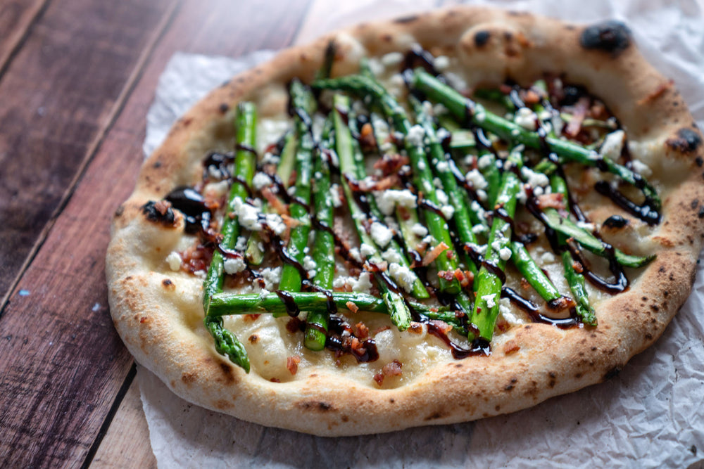 Asparagus, Feta, and Bacon Pizza