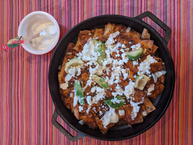 Chilaquiles in Cast Iron Skillet