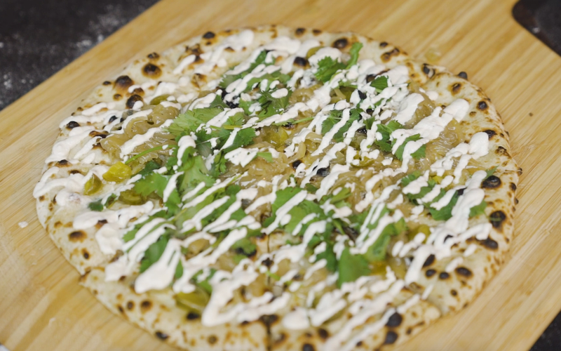 Pickled Jalapeño, Caramelized Onion & Garlic Cashew Cream Pizza