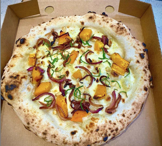 Pumpkin and Balsamic Onion Pizza with Sage and Pine Nuts