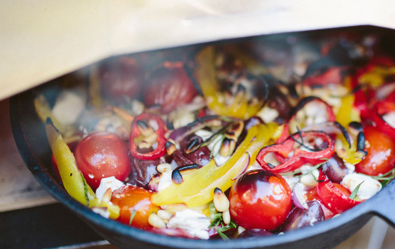 Roast Bell Peppers, Red Onion and Tomatoes with Feta