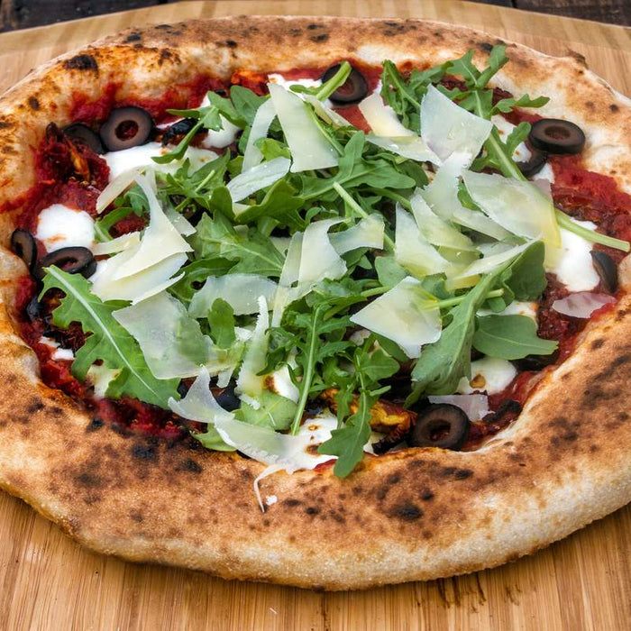 Olive, Sundried Tomato, and Rocket Pizza