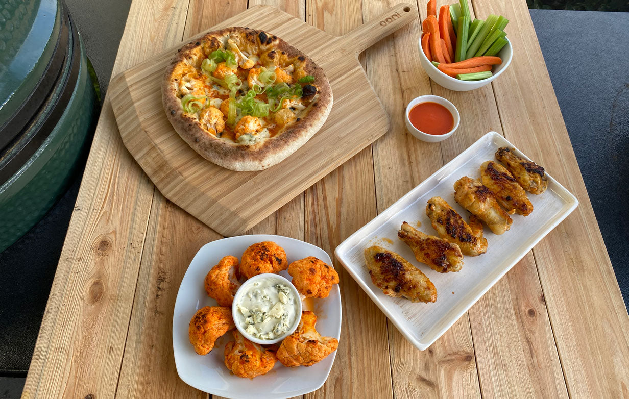 Sous Vide Flame Cooked Buffalo Chicken Wings Buffalo Cauliflower Pizza Ooni Usa