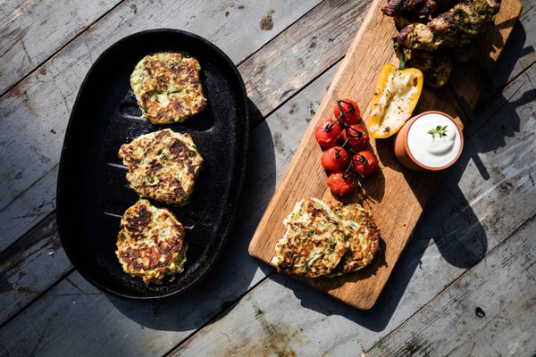 wood fired zucchini fritters