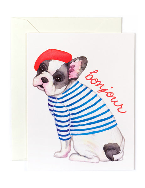 Bonjour French Bulldog Card