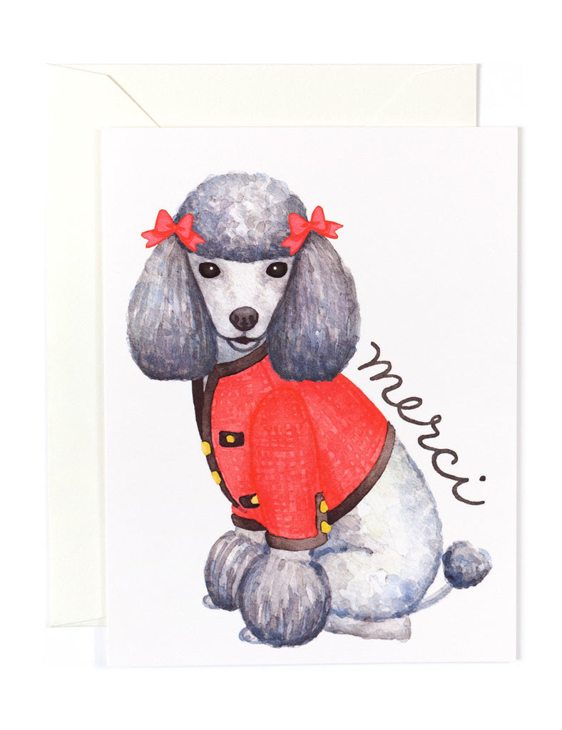Merci Poodle Card