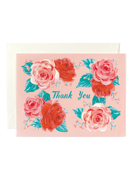 Thank You Coral Floral Card