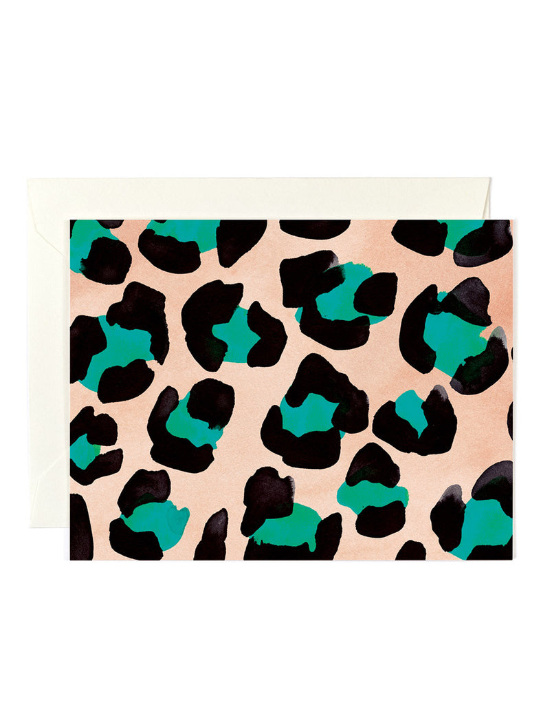 Teal Leopard Card