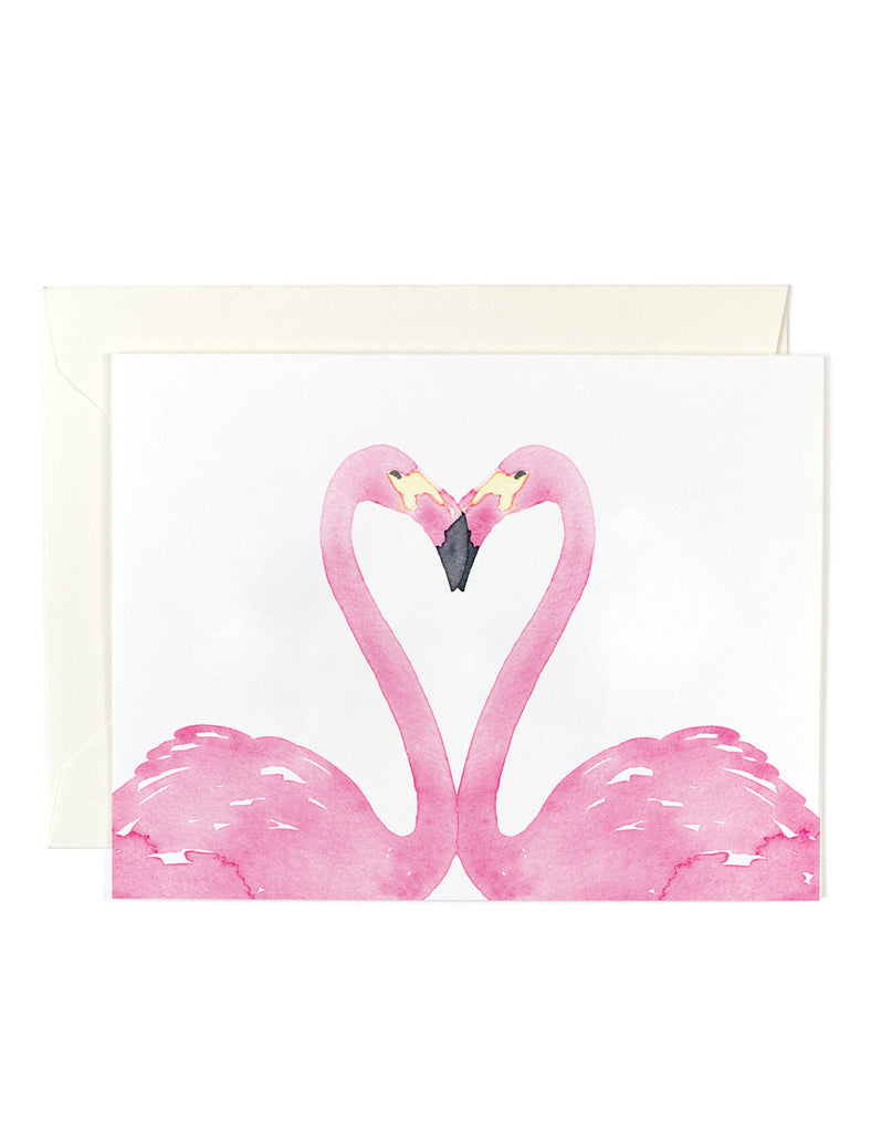 Pink Flamingo Heart Card