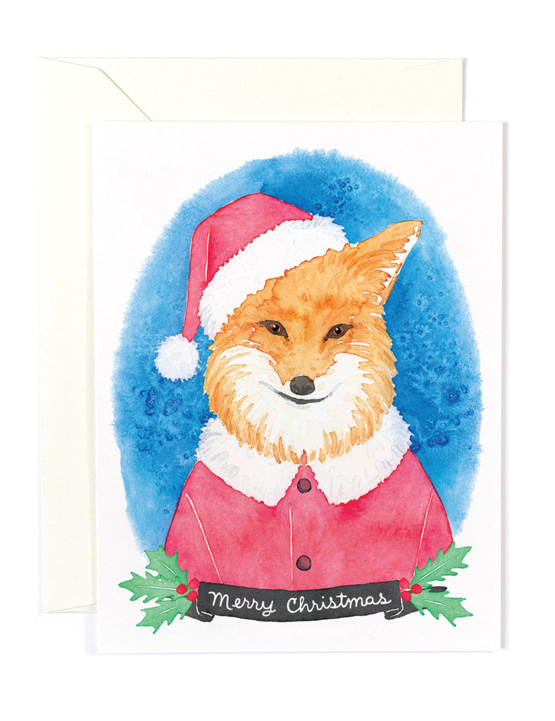 Golden Fox Santa Card
