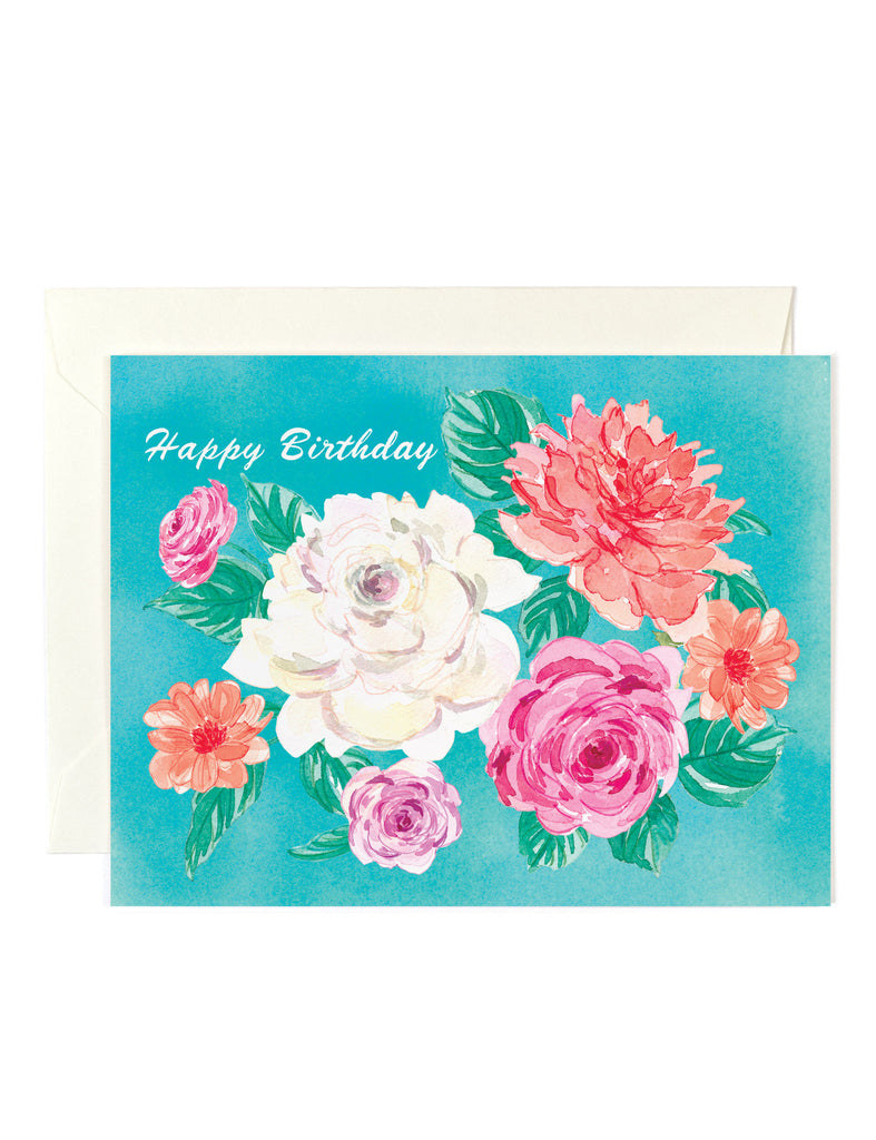 Happy Birthday Roses Teal Card