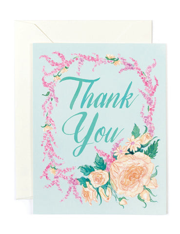 Thank You Mint Floral Card