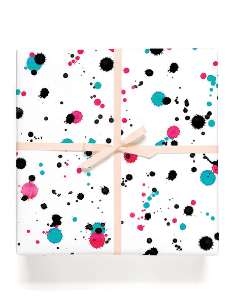 White Splatter Gift Wrap