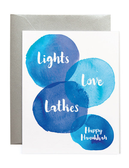 Lights, Love, Latkes Hanukkah Card