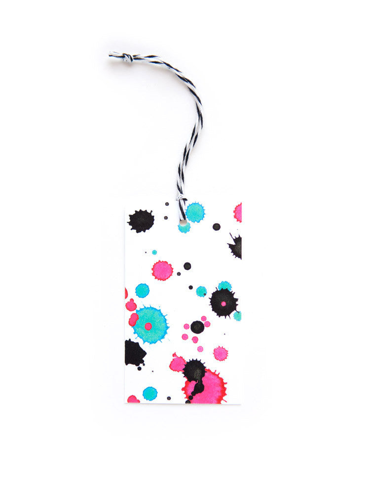 White Splatter Everyday Tags