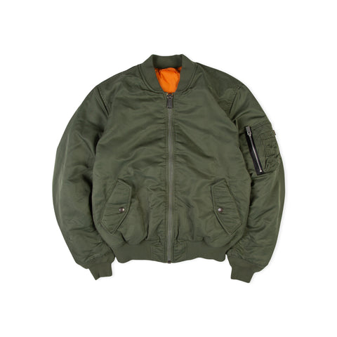 1017 ALYX 9SM x ALPHA INDUSTRIES Relentless Distressed Pilot Bomber Jacket (Sage Green)