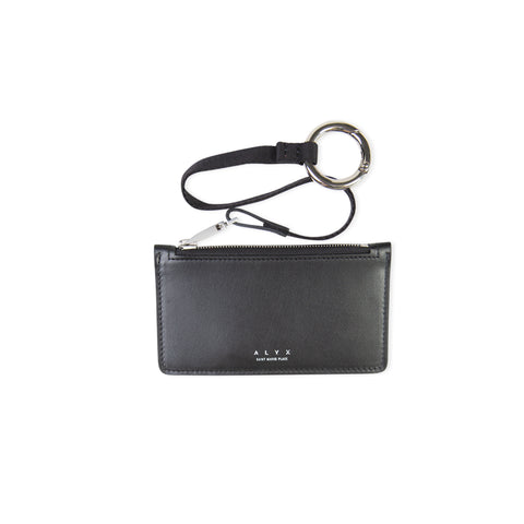 1017 ALYX 9SM Dani Leather Zip Card Holder Wallet w/ Lanyard (Black)