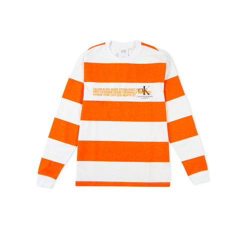 CALVIN KLEIN EST. 1978 Striped Logo Long-Sleeve Tee (Brilliant White/Bright Orange)