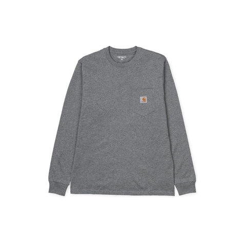 CARHARTT WIP Long-Sleeve Pocket Tee (Dark Grey Heather)