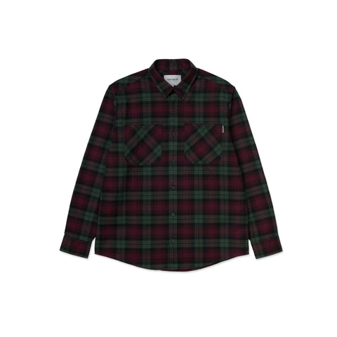 CARHARTT WIP Pelkey Shirt (Chrome Green/Merlot)