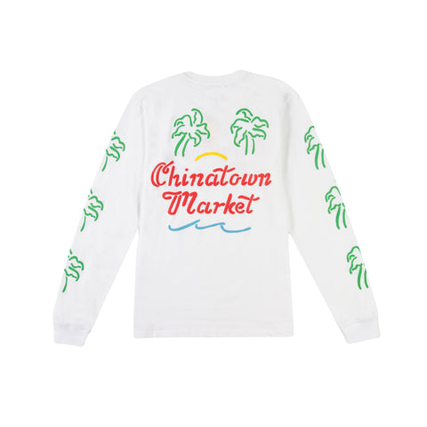 CHINATOWN MARKET Palm Long-Sleeve Tee (White)