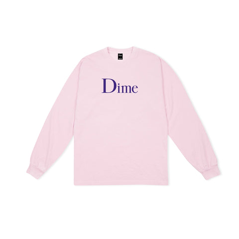 DIME Classic Logo Long-Sleeve Tee (Light Pink)