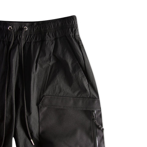 JOHN ELLIOTT High Shrunk Nylon Cargo Shorts (Black)