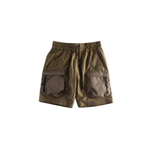JOHN ELLIOTT High Shrunk Nylon Cargo Shorts (Olive)