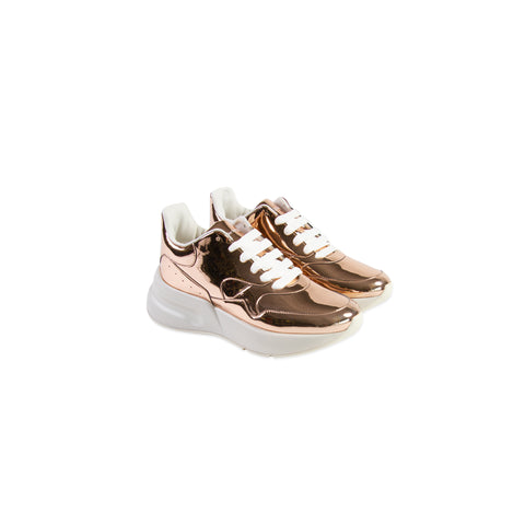 ALEXANDER MCQUEEN Patent Leather Oversized Runner Sneaker (Rose Gold)