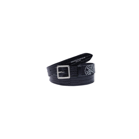 NEIGHBORHOOD Black Cow Leather Series Garrison Belt (Black)