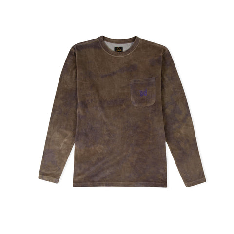 NEEDLES Poly Velour Long-Sleeve Crew Neck Tee (Olive Tie Dye)