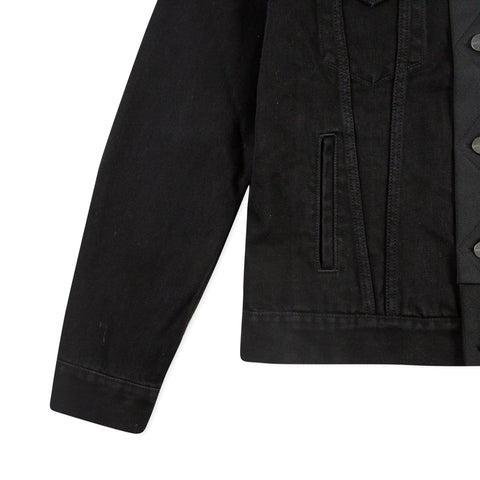 PALM ANGELS Split Mono-Color Track Trucker Jacket (Black Wash/Black)