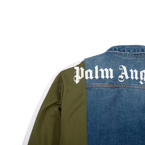 PALM ANGELS College Track Trucker Jacket (Medium Wash/Green)