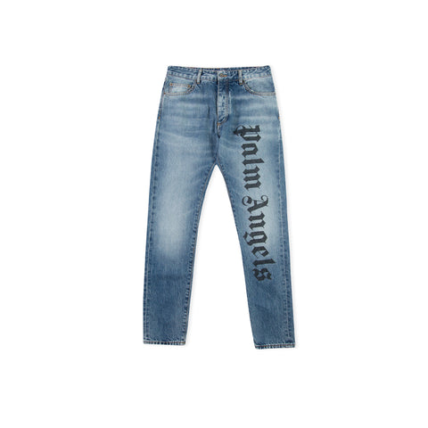 PALM ANGELS Needled Logo Denim (Light Blue Wash)