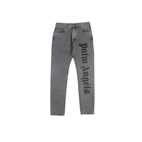 PALM ANGELS Needled Logo Denim (Dark Grey Wash)
