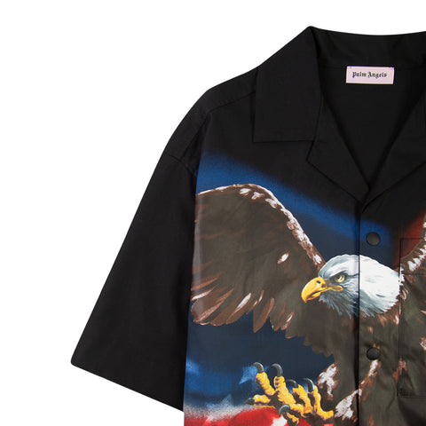PALM ANGELS Eagle Bowling Shirt (Black)
