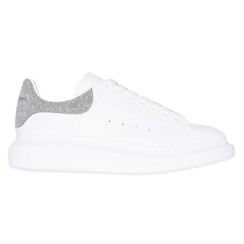 ALEXANDER MCQUEEN Chunky Low Top Sneaker (White/Silver Glitter)