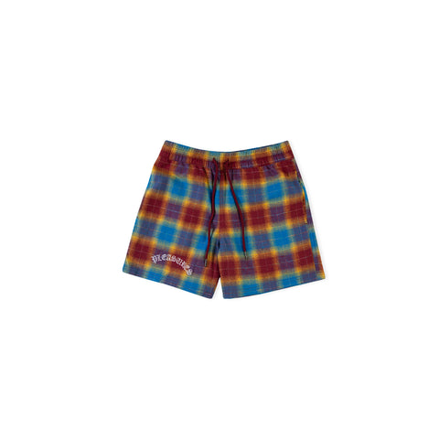 PLEASURES Shadow Plaid Short (Maroon)