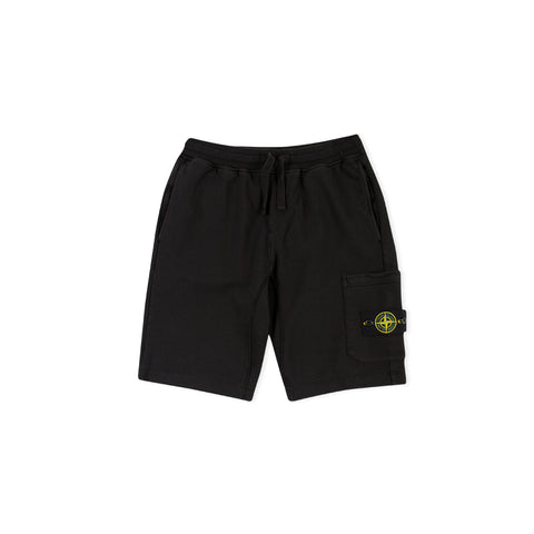 STONE ISLAND 64651 Fleece Bermuda Shorts (Black)