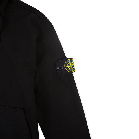 STONE ISLAND 62820 Brushed Cotton Fleece Arm Badge Hoodie (Black)