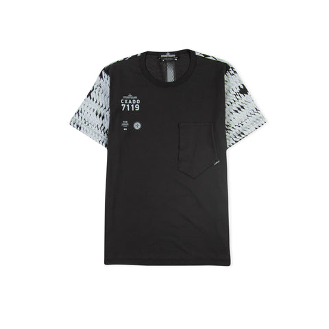 STONE ISLAND SHADOW PROJECT 20110 Printed Catch Pocket Tee (Black)