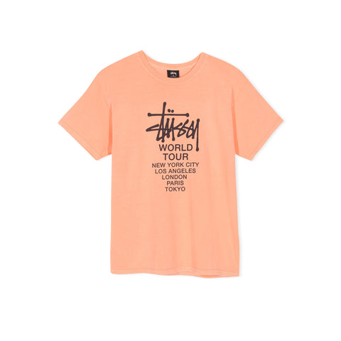 STUSSY Tour Pigment Dyed Tee (Coral)