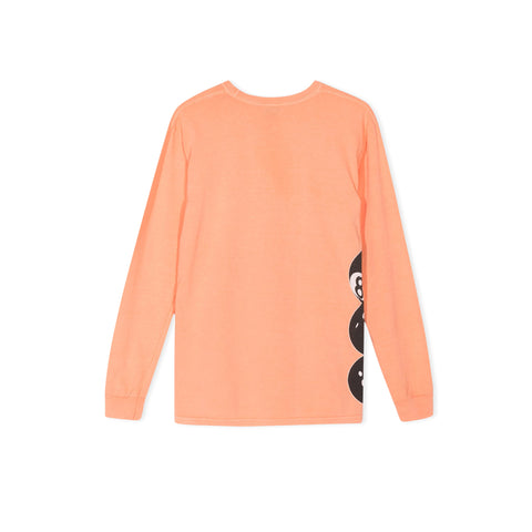 STUSSY 8 Ball Stacked Pigment Dyed Long-Sleeve Tee (Coral)