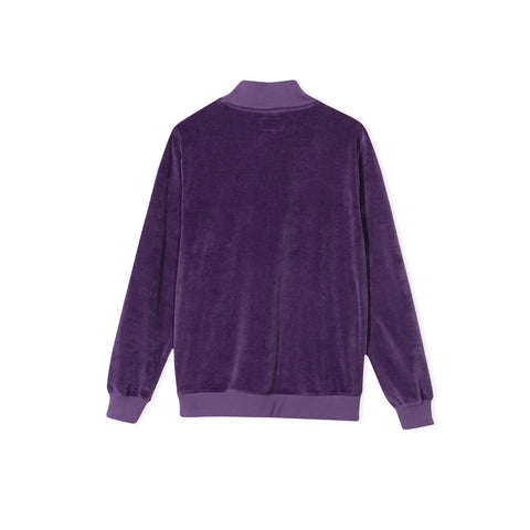 STUSSY Velour Long-Sleeve Zip Mock Sweater (Purple)