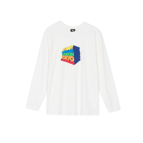 STUSSY Stacked Up Pigment Dyed Long-Sleeve Tee (Natural)