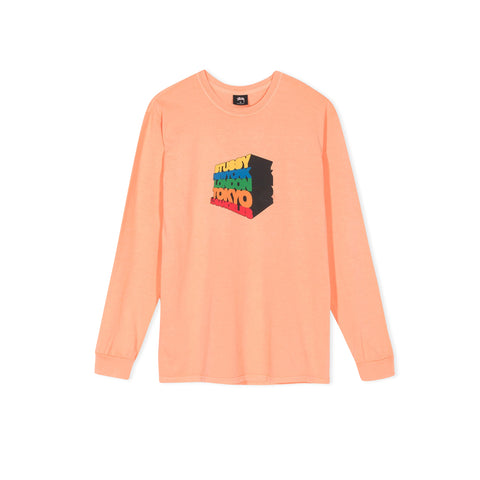 STUSSY Stacked Up Pigment Dyed Long-Sleeve Tee (Coral)