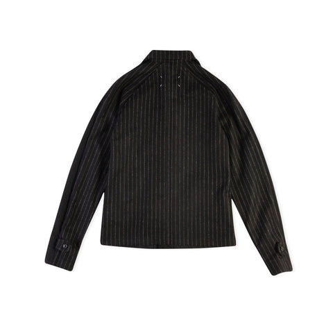 MAISON MARGIELA Mixed Material Denim Jacket (Black Denim/Vintage Pinstripe Wool)