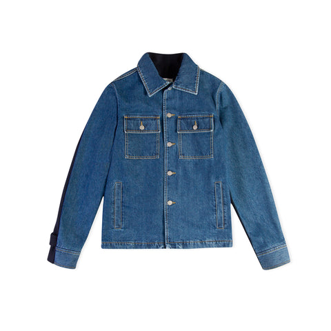 MAISON MARGIELA Mixed Material Denim Jacket (Blue Denim/Vintage Indigo Wool)