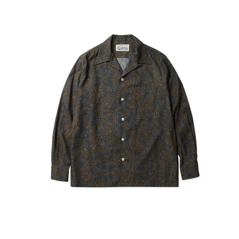 WACKO MARIA Paisley Open Collar Shirt (Blue)