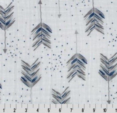 Aim High Embrace - Steel - Double Gauze Fabric SOLD BY THE 1/2 YARD
